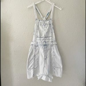 Free People Onesie Jean Shorts Overalls S